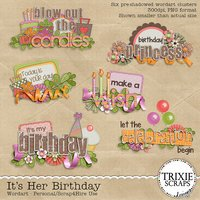 It's Her Birthday Digital Scrapbooking Wordart