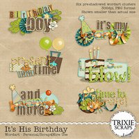 It's His Birthday Digital Scrapbooking Wordart