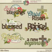 His Glory Digital Scrapbooking Wordart - Easter Faith Religious