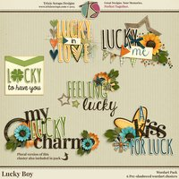 Lucky Boy Digital Scrapbooking Wordart - Children Kids Boys