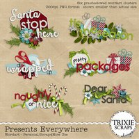 Presents Everywhere Digital Scrapbooking Wordart