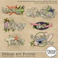 Siblings Are Forever Digital Scrapbooking Wordart Clusters