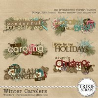 Winter Carolers Digital Scrapbooking Wordart