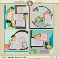 Circle Gets the Square vol 1 Digital Scrapbooking Template Pack