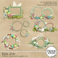 Dye Job Digital Scrapbooking Clusters Easter