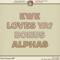 Ewe Loves Ya? Digital Scrapbooking Bonus Alphas - Valentine's Day Love