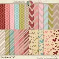 Ewe Loves Ya? Digital Scrapbooking Bonus Papers - Valentine's Day Love