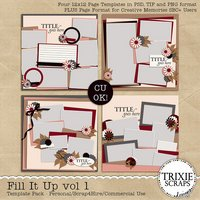 Fill It Up vol 1 Digital Scrapbooking Templates PSD/TIF/PAGE