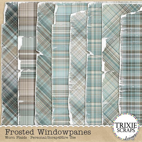 Frosted Windowpanes Digital Scrapbooking Worn Plaids
