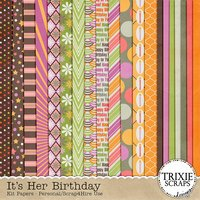 It's Her Birthday Digital Scrapbooking Full Kit Girls Cupcakes Cake