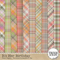 It's Her Birthday Digital Scrapbooking Plaid Papers