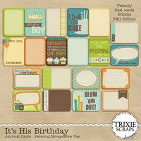 It's His Birthday Digital Scrapbooking Journal Cards