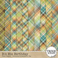 It's His Birthday Digital Scrapbooking Plaid Papers