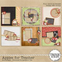 Apples for Teacher Digital Scrapbooking Quickpages