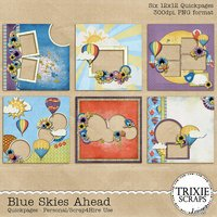 Blue Skies Ahead Digital Scrapbooking Quickpages Hot Air Balloons