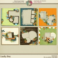 Lucky Boy Digital Scrapbooking Quickpages - Children Kids Boys