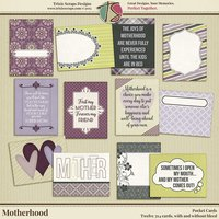 Motherhood Digital Scrapbooking Pocket Cards