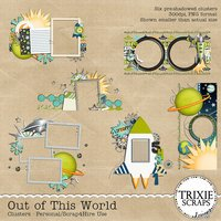 Out of This World Digital Scrapbooking Clusters Disney