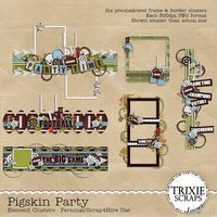 Pigskin Party Digital Scrapbooking Element Clusters