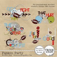 Pigskin Party Digital Scrapbooking Wordart