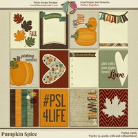 Pumpkin Spice Digital Scrapbooking Pocket Cards