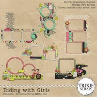 Riding with Girls Digital Scrapbooking Clusters Kids Sports