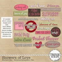 Showers of Love Digital Scrapbooking Wordart Bits
