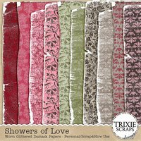Showers of Love Digital Scrapbooking Worn Glittered Damask