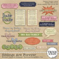 Siblings Are Forever Digital Scrapbooking Wordart Labels