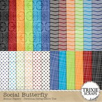 Social Butterfly Digital Scrapbooking Bonus Papers