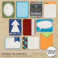 Social Butterfly Digital Scrapbooking Journal Cards
