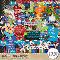 Social Butterfly Digital Scrapbooking Full Kit Facebook Twitter Pinterest