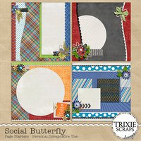 Social Butterfly Digital Scrapbooking Page Starters