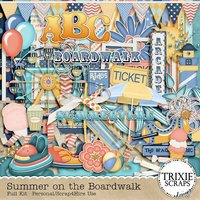 Summer on the Boardwalk Digital Scrapbooking Full Kit Lighthouse Ferris Wheel