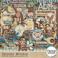 Spunky Monkey Digital Scrapbooking Full Kit Boys Jumping Playing