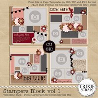 Stampers Block vol 1 Digital Scrapbooking Template Pack PSD/TIF/PAGE