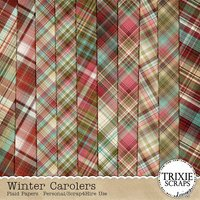 Winter Carolers Digital Scrapbooking Plaid Papers