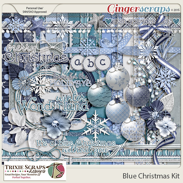 Blue Christmas Digital Scrapbook Kit by Trixie Scraps Designs