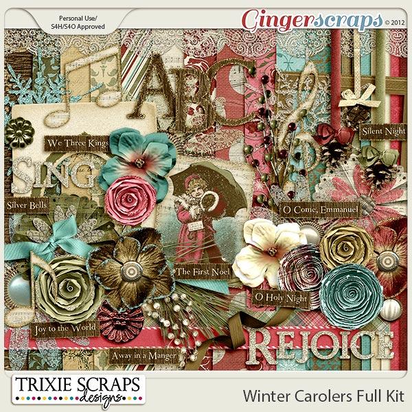 Winter Carolers Digital Scrapbook Kit by Trixie Scraps Designs