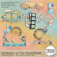 Summer on the Boardwalk Digital Scrapbooking Clusters