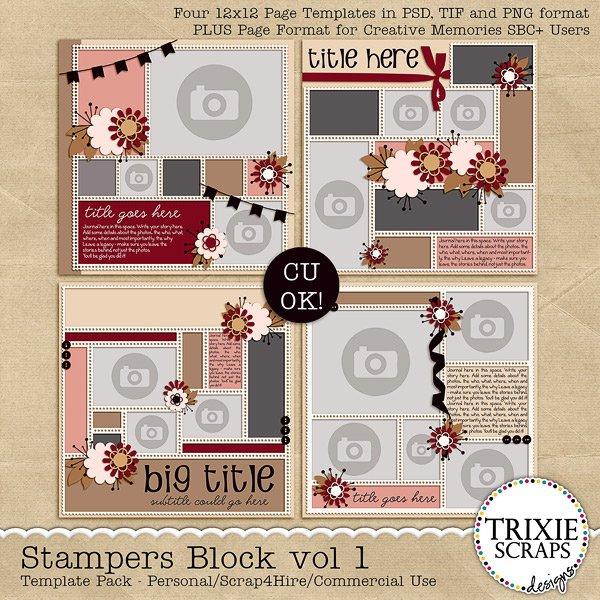 Stampers Block Vol 1 Digital Scrapbooking Template Pack by Trixie Scraps