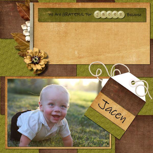 Grateful for Jacen digital scrapbook layout by Shilo