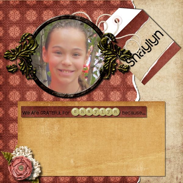 Grateful for Shaylyn digital scrapbook layout by Shilo