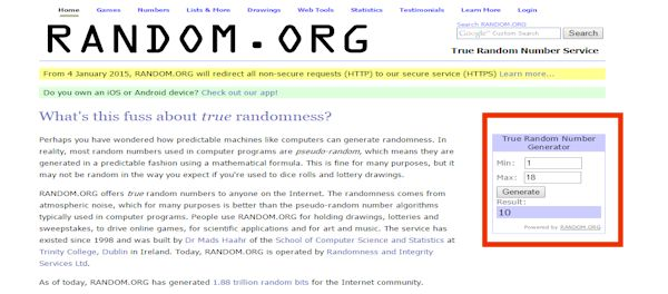 Screenshot from Random.Org