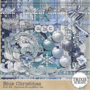 Blue Christmas Digital Scrapbooking Kit by Trixie Scraps