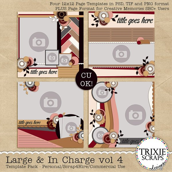 Large and In Charge Vol. 4 Digital Scrapbook Template Pack by Trixie Scraps