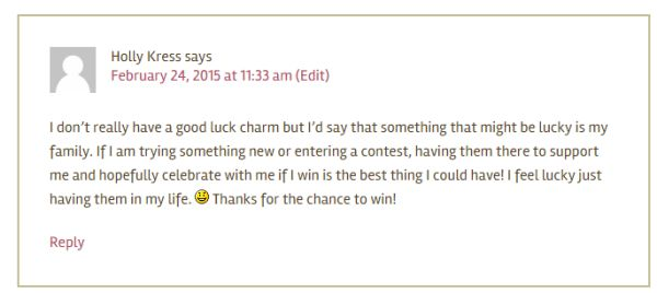 SRS March 22 Winner Comment