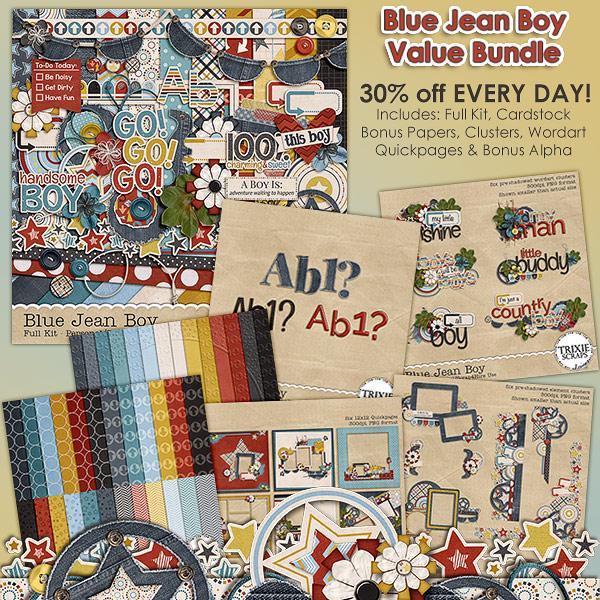 Blue Jean Boy Value Bundle by Trixie Scraps