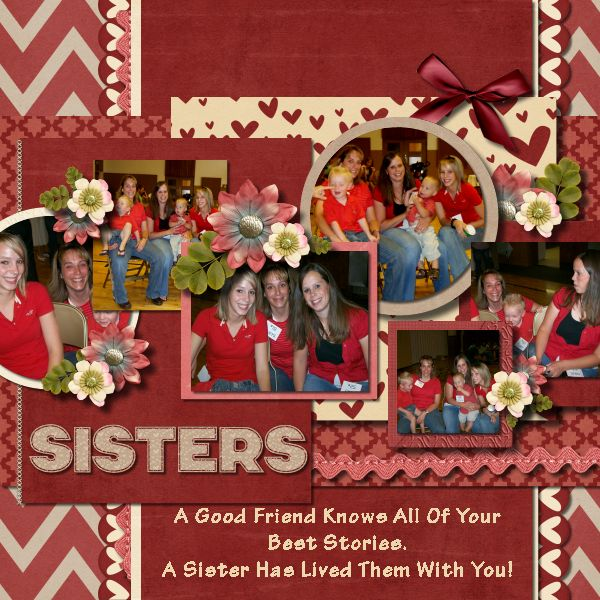 Sisters layout created by Scrap Star Shilo