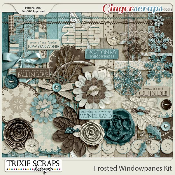 Frosted Windowpanes Digital Scrapbooking Kit by Trixie Scraps Designs